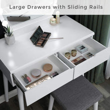 Load image into Gallery viewer, Storage organizer vasagle vanity table set with 10 light bulbs and touch switch dressing makeup table desk with large round mirror 2 sliding drawers 1 cushioned stool for bedroom bathroom white urdt11wl