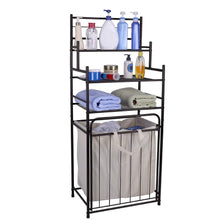 Load image into Gallery viewer, Buy mythinglogic laundry hamper with 3 tier storage shelves bathroom tower storage organizer with dual compartment removeable hamper for bathroom laundry room closet nursery oil rubbed bronze
