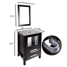 Load image into Gallery viewer, Budget 24 inch modern bathroom vanities suite sets with wall mounted mirror mdf stand pedestal storage cabinet espresso wood construction square countertop with chrome footage 2drawer2door