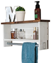 Load image into Gallery viewer, Discover the best drakestone designs bathroom shelf with towel bar solid wood wall mount modern farmhouse decor 12 x 24 inch whitewash