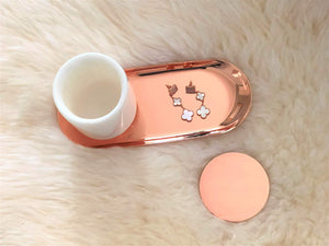 Latest white real marble jar with rose gold lid tray small vanity jar for bathroom storage make up brushes q tips pens flowers trinkets keys metal lid round shape container bathroom cup