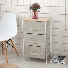 Load image into Gallery viewer, Save on leaf house fabric 3 drawer storage organizer unit nightstand for nursery closet bedroom bathroom entryway beige no tools required