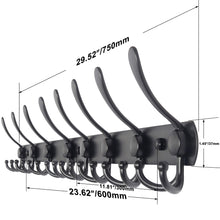 Load image into Gallery viewer, Organize with webi coat rack wall mounted 30 inch 8 tri hooks 24 hooks decorative coat hat hook rack heavy duty triple hook rail wall hanging hooks for bathroom kitchen office entryway closet black 2 packs