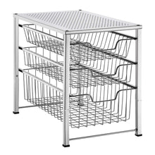 Load image into Gallery viewer, Save on bextsware cabinet basket organizer with 3 tier wire grid sliding drawer multi function stackable mesh storage organizer for kitchen counter desktop bathroom under sinkchrome
