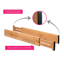 Load image into Gallery viewer, Online shopping rapturous bamboo drawer dividers pack of 5 expandable drawer organizers with anti scratch foam edges adjustable drawer organization separators for kitchen bedroom baby drawer bathroom desk