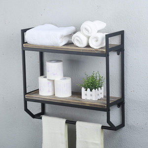 Discover the best 2 tier metal industrial 23 6 bathroom shelves wall mounted rustic wall shelf over toilet towel rack with towel bar utility storage shelf rack floating shelves towel holder black brush silver
