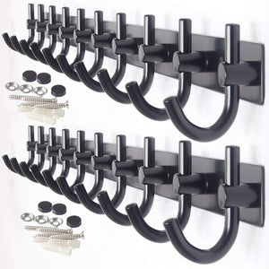 Great webi wall mounted coat rack 30 inch 10 hooks rack rail heavy duty coat hat hook for bathroom entryway closet foyer hallway black 2 packs