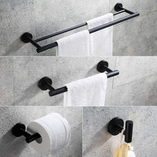 Load image into Gallery viewer, Get hoooh matte black 4 piece bathroom accessories set stainless steel wall mount includes double towel bar hand towel rack toilet paper holder robe hooks bs100s4 bk