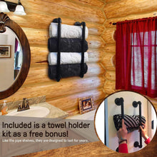 Load image into Gallery viewer, Shop here industrial pipe shelves with towel rack diy floating wood shelves and metal bracket pipes rustic mounted wall shelf for bathroom kitchen living room bedroom decorative farmhouse shelving units