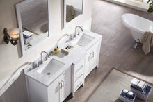 Load image into Gallery viewer, Amazon ariel e073d wht hollandale 73 solid wood double sink bathroom vanity set in white with white carrara marble countertop and mirror