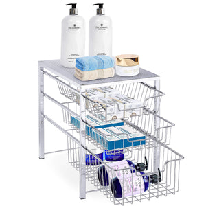 Explore simple trending 3 tier under sink cabinet organizer with sliding storage drawer desktop organizer for kitchen bathroom office stackbale chrome