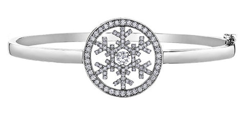 14k wg snowflake bangle