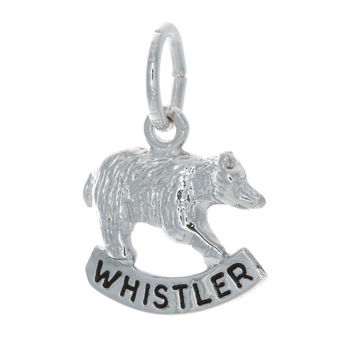Sterling Silver Bear Charm with Whistler Banner