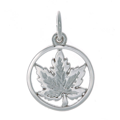Sterling Silver Maple Leaf in Circle Charm