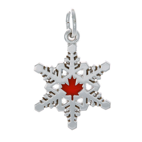 Sterling Silver Canadian Maple Leaf Snowflake Charm