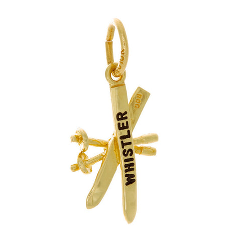 10k Yellow Gold Crossed Skis & Poles Charm