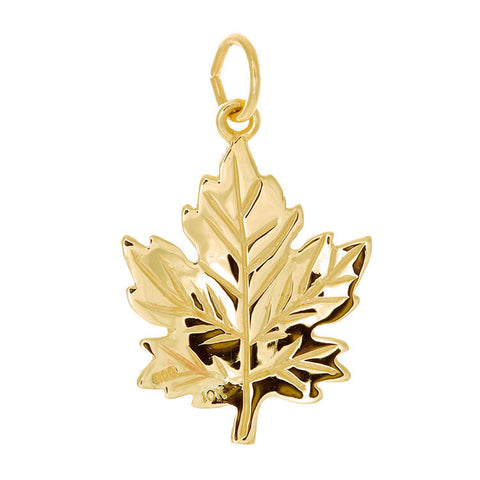 10k Yellow Gold Large Maple Leaf Charm