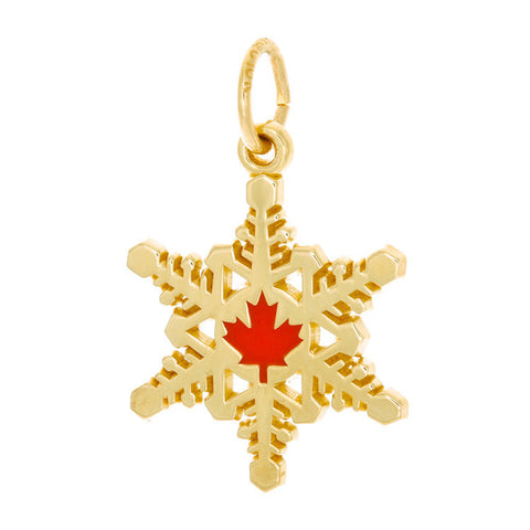 10k Yellow Gold Canadian Maple Leaf Snowflake Charm