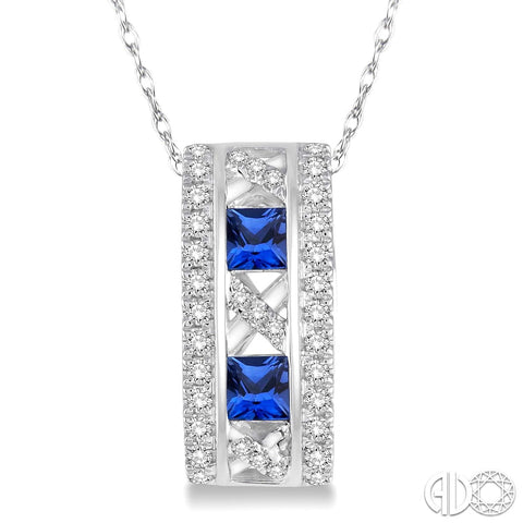 14k Gold Diamond and Sapphire Pendant