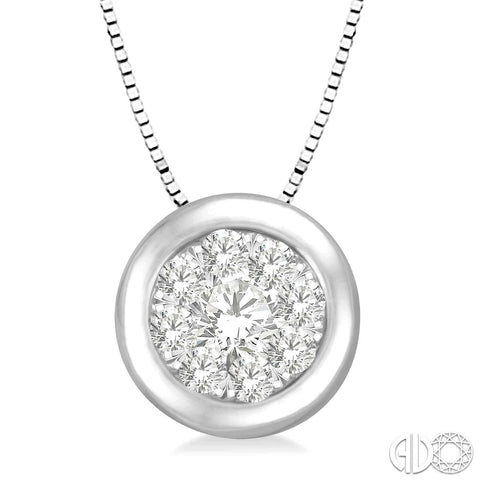 14k gold diamond illusion cluster pendant