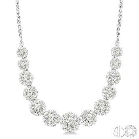 14k gold diamond illusion cluster necklace