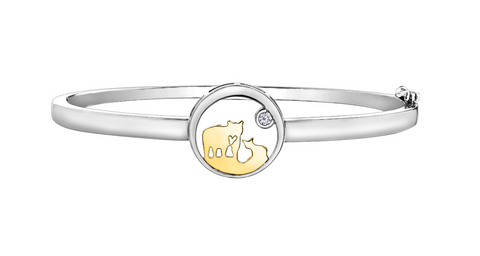 14k Gold Jeanie Bear Canadian Diamond Bangle