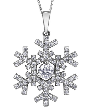 14k Canadian Diamond Snowflake Necklace