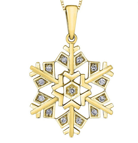 14k Gold and Single Cut Diamond Snowflake Pendant
