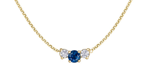 14k Blue Sapphire and Canadian Diamond Pendant