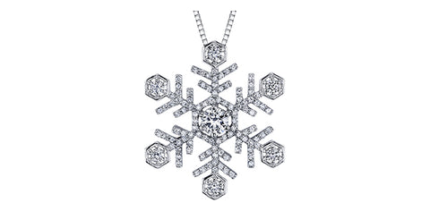 14k White Gold Canadian Diamond Snowflake Pendant
