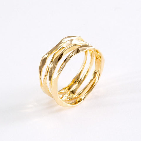 14k Gold Hand Hammered 4 Layer Split Ring