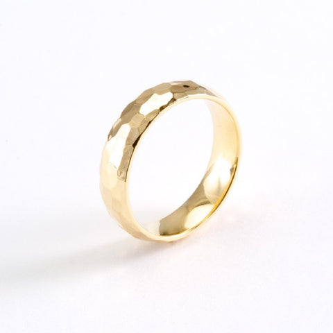 14k Yellow Gold Hand Hammered Comfort Fit Wedding Bands