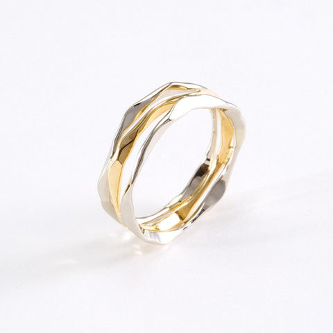 14k Gold Hand Hammered 3 Layer Split Ring