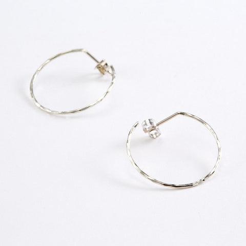 14k Gold Hand Hammered Small Hoop Earring