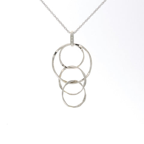 14k Gold Multi Circle Hammered Drop Pendant