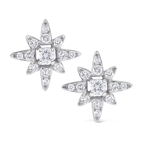 14k Gold Diamond Star Earrings