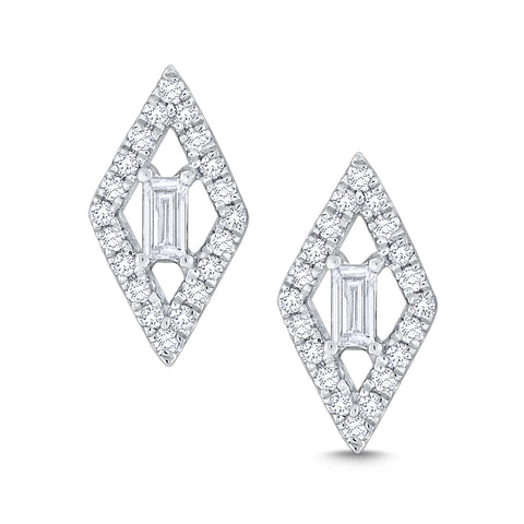 14k Gold Diamond Marquise Shape Stud Earrings