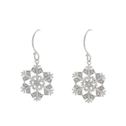 14k Gold and Single Cut Diamond Snowflake Earring