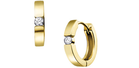 14k Canadian Diamond Huggie Earrings