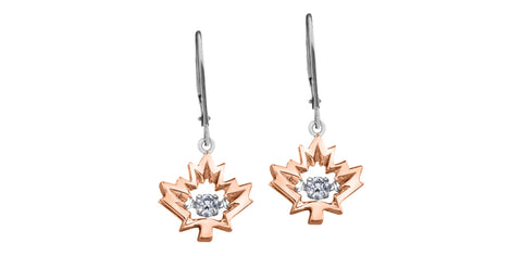 10k Gold Canadian Diamond Maple Leaf 'Northern Dancer' Euroback Earrings