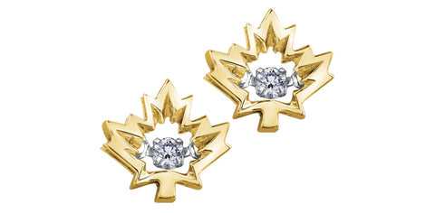 10k Gold Canadian Diamond Maple Leaf 'Northern Dancer' Stud Earrings