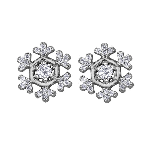 14k Canadian Diamond Snowflake Earrings