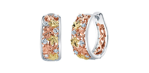 """Fall in Love"" 14k Tri-Colour Gold Diamond Hoop Earrings"