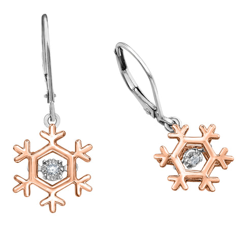 10k Canadian Diamond Snowflake Earring