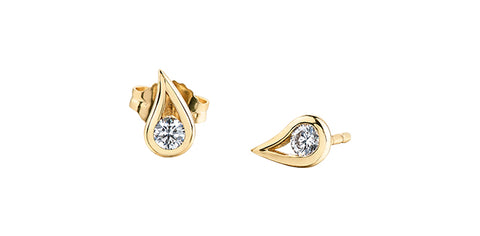 14k Gold Canadian Diamond Stud Earrings