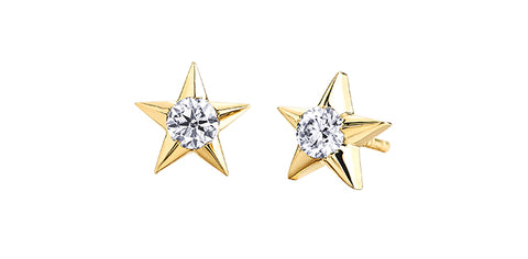 10k Gold Canadian Diamond Star Stud Earrings