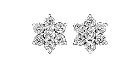 10k Diamond Snowflake Stud Earrings