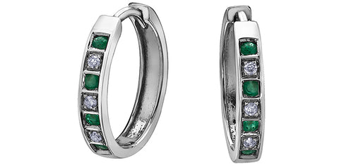 10k Emerald and Diamond Huggie Earrings