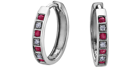 10k Ruby and Diamond Huggie Earrings