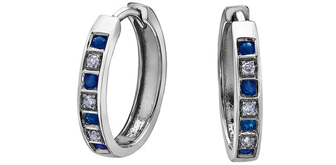 10k Sapphire and Diamond Huggie Earrings